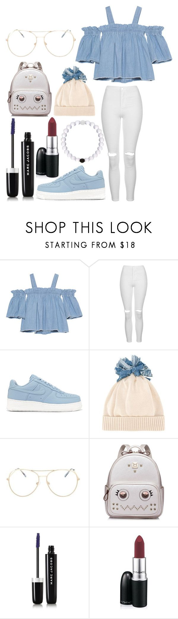 """""""Untitled #341"""" by alreemaljassim ❤ liked on Polyvore featuring SJYP, Topshop, NIKE, Federica Moretti, WithChic, Marc Jacobs and MAC Cosmetics"""