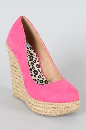 Urbanog has the best heels!Espadrilles Wedges, Pink Wedges, Clothing, Toes Espadrilles, Round Toes, Bridesmaid Shoes, Delicious Round, 24 80, Pink Shoes