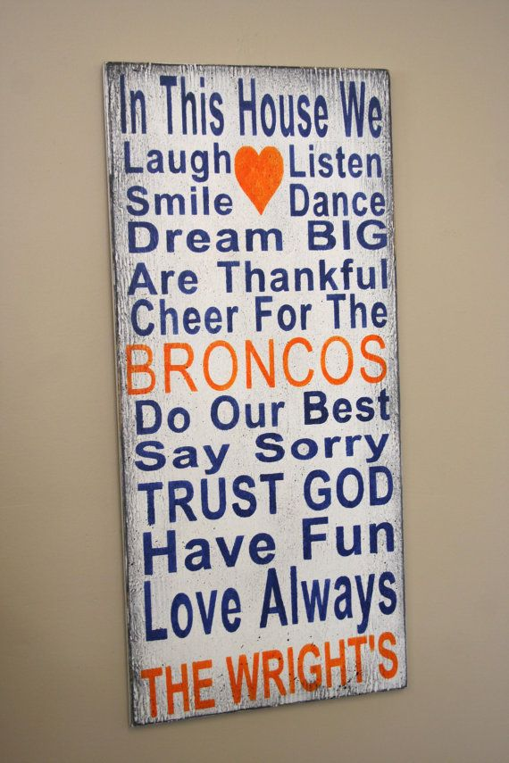 Family Rules Sign Denver Bronco Team Sign Broncos Fathers Day Gift Mancave Bridal Shower Gift Wedding Gift Housewarming Gift Distressed Wood...