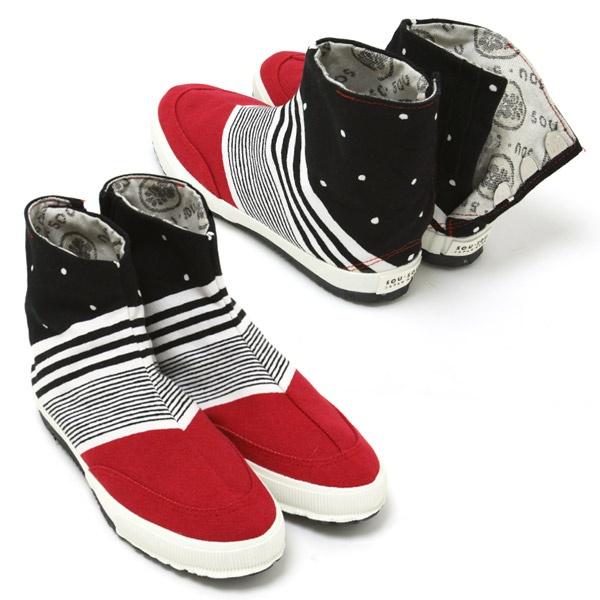 Red tabi shoes, handmade by artisans in Kyoto, Japan. #sousou, #tabi, #tabishoes, #japan