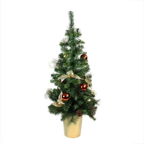 """48"""""""" Pre-Decorated Red Gold and Copper Potted Artificial Christmas Tree - Unlit"""