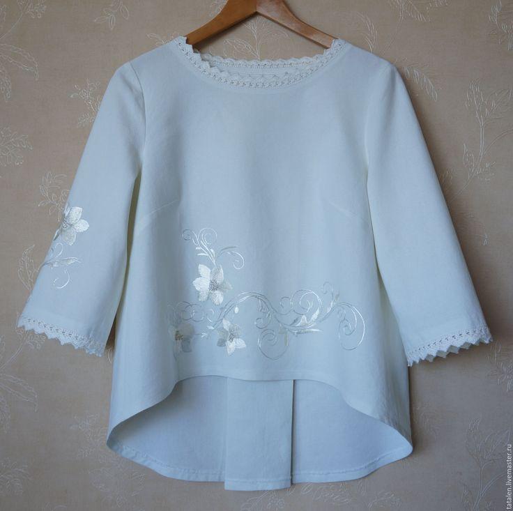"""Купить Блуза хлопок-шёлк """"Капель"""" - цветочный, авторская ручная работа, ручная работа handmade"""