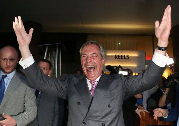 UK votes to leave EU: Leader of the United Kingdom Independence Party (UKIP), Nigel Farage reacts at the Leave.EU referendum party at Millbank Tower in central London on June 24, 2016, as results indicate that it looks likely the UK will leave the European Union (EU). Top anti-EU campaigner Nigel Farage said he was increasingly confident of victory in Britain's EU referendum on Friday, voicing hope that the result 'brings down' the European Union.