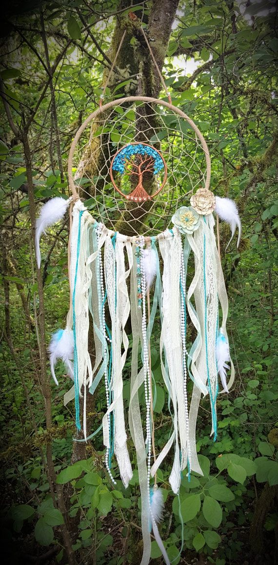 Tree Of Life Dream Catcher/Turquoise Howlite/Wall Hanging