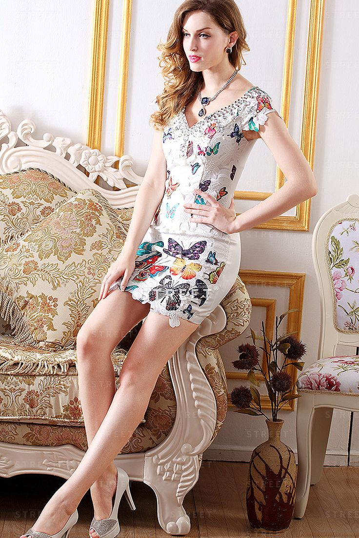 White-And-Colorful-Butterfly-Tight-Lace-Cocktail-Dress-Summer-For-Teens-
