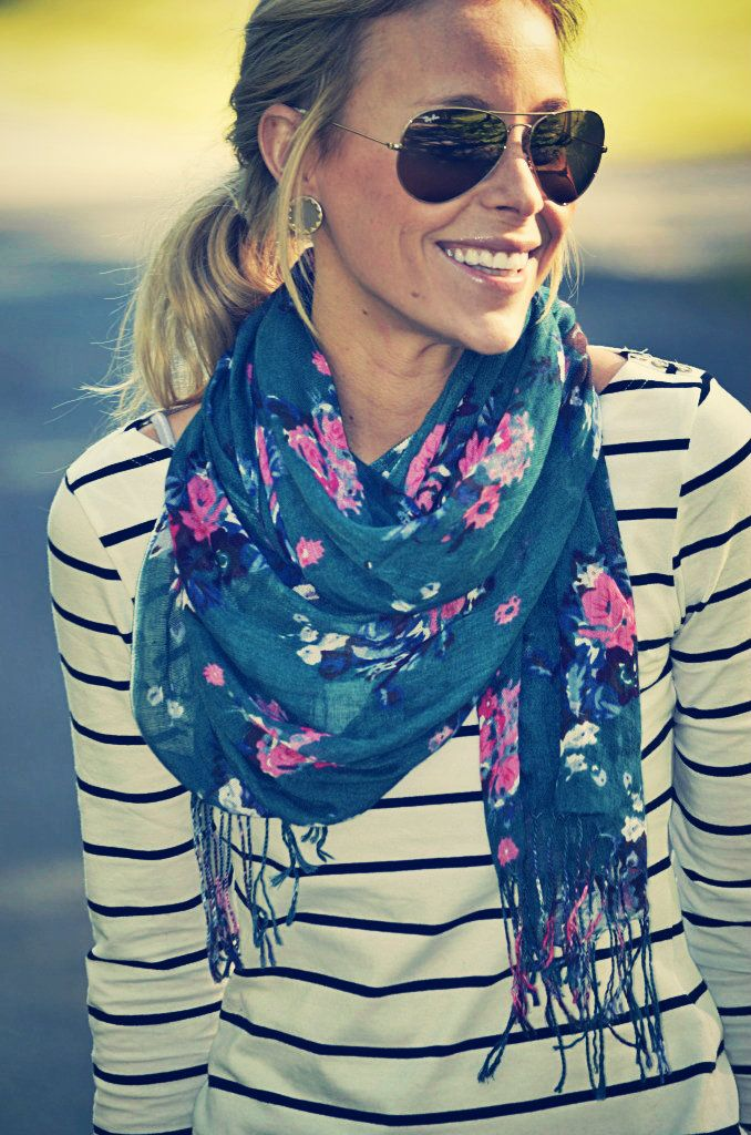 Floral scarf + stripes = mixed prints