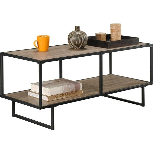 """Altra Emmett 42"""" TV Stand/Coffee Table with Metal Frame, Sonoma... ($54) ❤ liked on Polyvore featuring home, furniture, tables, accent tables, dark grey furniture, oak wood furniture, metal furniture, metal table and metal accent table"""