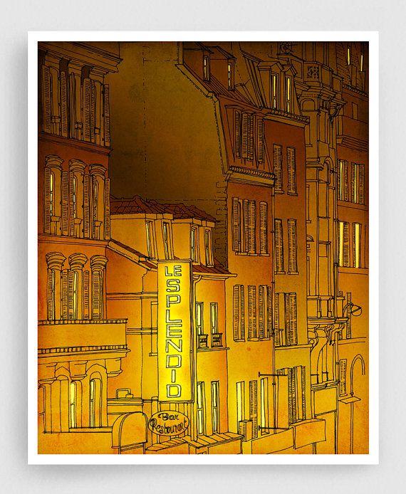 Gouden nacht Parijs illustratie Art illustratie van tubidu op Etsy