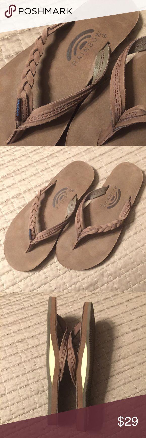 Rainbow Flip Flops Brown/Braided Rainbow Flip Flops.. Ladies size 5.5 - 6.5. Never Worn. Rainbow Shoes Sandals