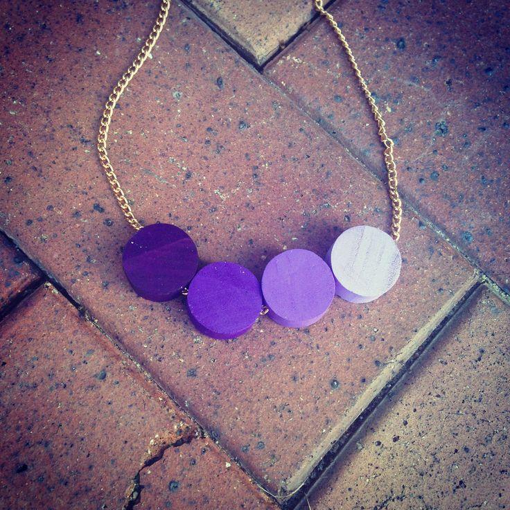 #wood #handmade #necklace #circles #purple #tones