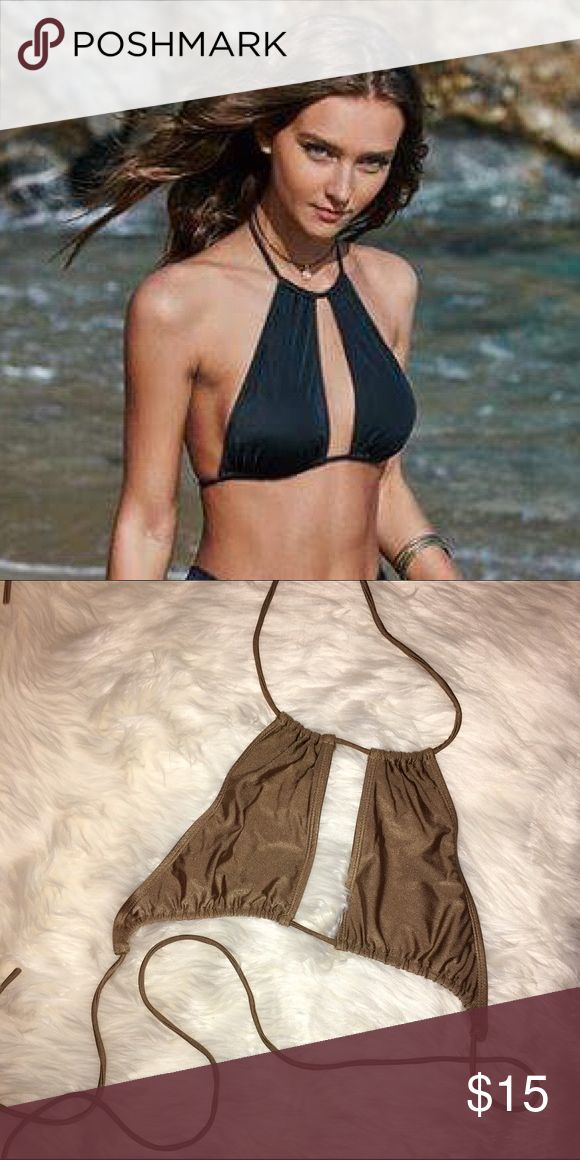 GOLD cut out halter bikini top The one I'm selling is gold. The first picture is just to show how it's worn. Worn once. From pacsun LA Hearts Swim Bikinis