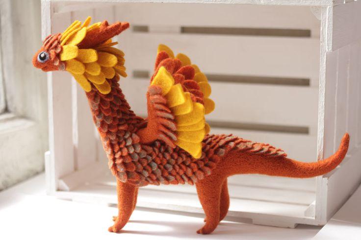 Купить Огненно-красный дракон - рыжий, красный, огненный, дракон игрушка, дракон фигурка