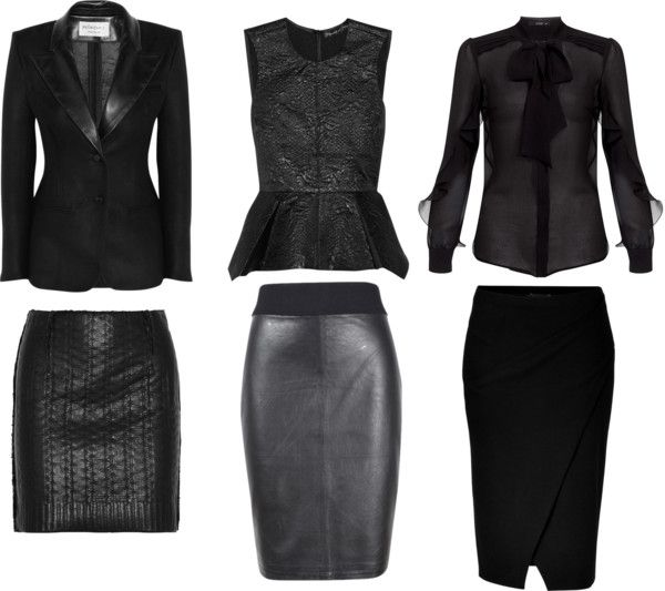 """corporate goth styled staples mix and match: """"Shades of Black: Office Sets"""" by fortheloveofblueshoes on Polyvore. """"corporate goth""""? love that phrase."""