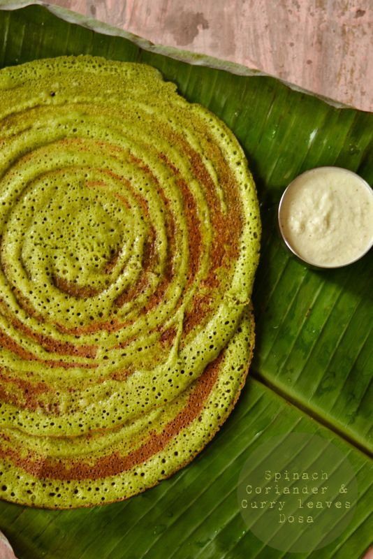 Spinach ,Coriander and Curry leaves Dosa |