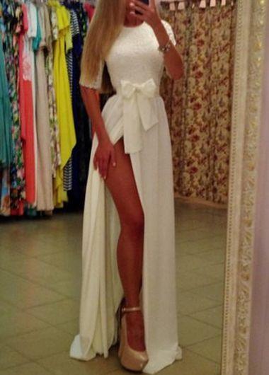 White Elegance Side Slit Long Dress with Bow