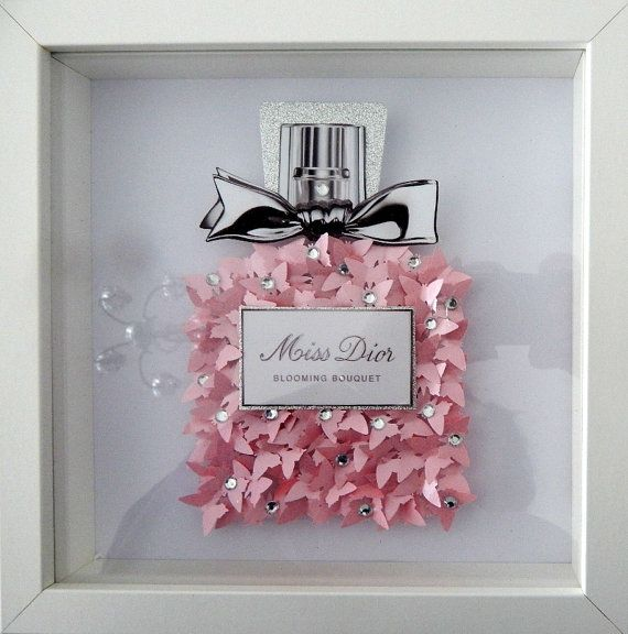 Miss Dior perfume bottle picture 3d butterflies, Bespoke luxury pearlised *UNIQUE TO FLUTTER FRAMES* Can be personalised Handcrafted using over 100 hand punched butterflies The background is white gloss If you are looking for a unique gift idea, this stunning 3d picture wall art makes the perfect anniversary gift, wedding gift, birthday gift or simply a special occasion gift for that special someone. Brighten up an empty wall with this gorgeous 3D wall art. These pictures are sure to get...