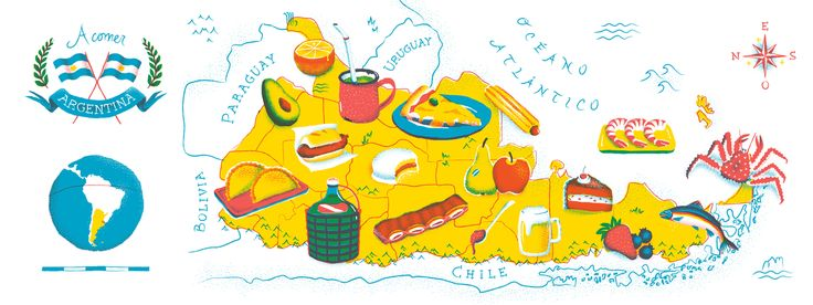 Argentina Food Map By Sebastian Gagin Illustration Pinterest - Map 0f argentina