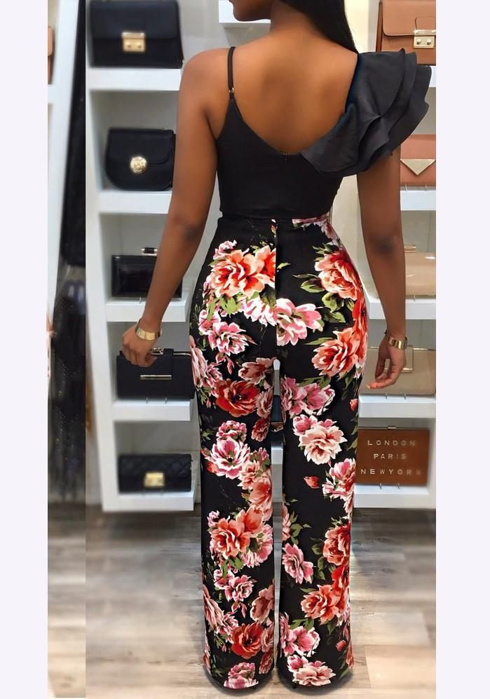 b55b9fcc082 Black Floral Ruffle Asymmetric Shoulder Spaghetti Strap Backless Party Long  Jumpsuit