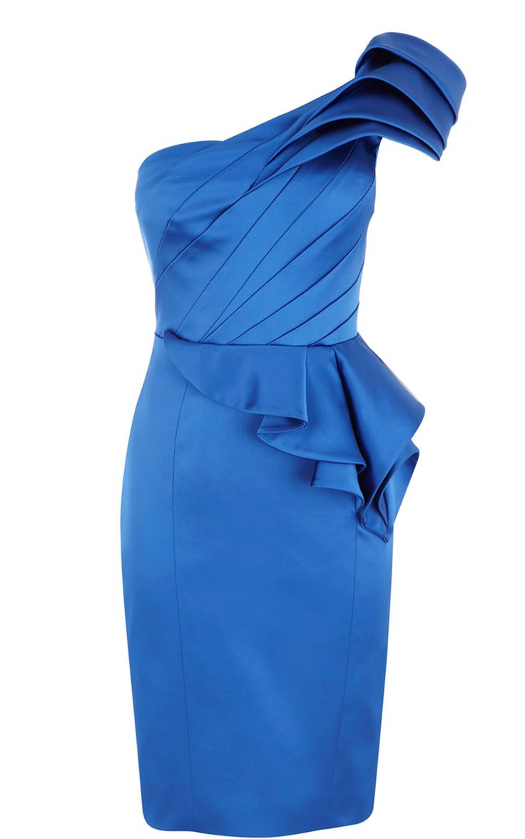 Karen Millen Signature stretch satin peplum dress blue ,Karen Millen DN209,Karen Millen DN209 blue,karen millen dresses outlet