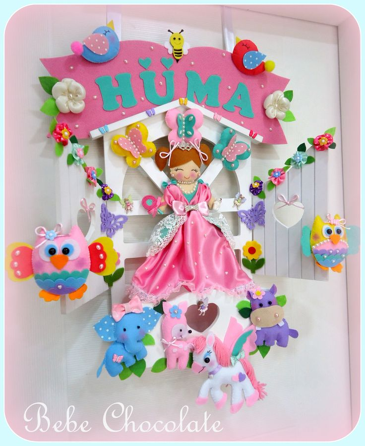 baby door wreath for Huma baby - ahşap keçe kapı süsü