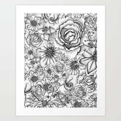B&W Flowers  Art Print by Nora - $16.00