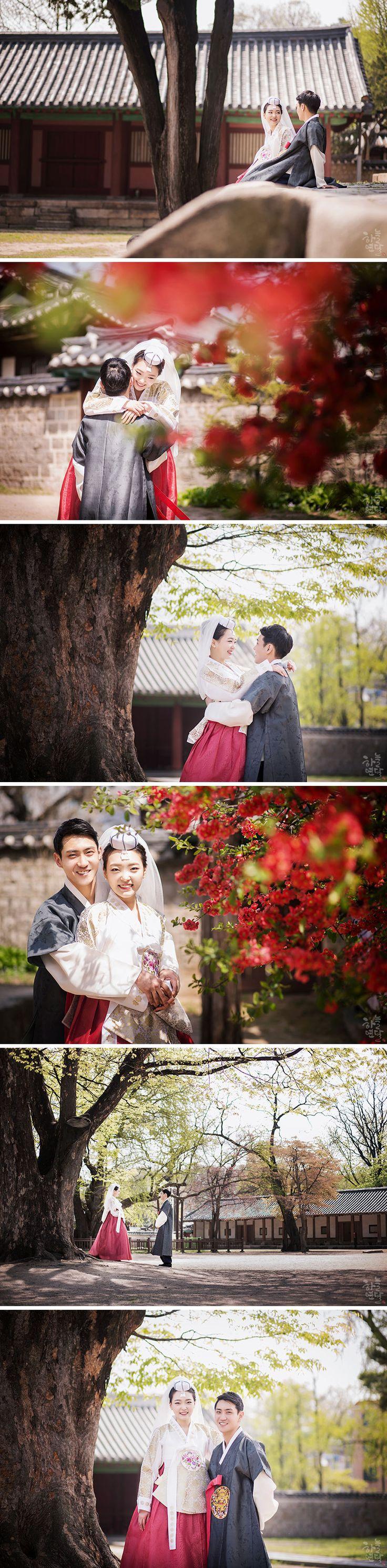 Korean wedding photography in Hanbok - a Korean traditional outfit.