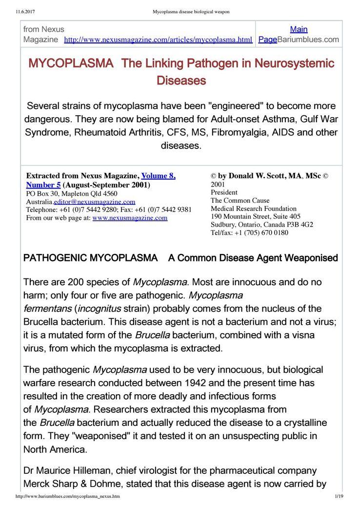 Guerra biologica del PENTAGONO: mycoplasma disease biological weapon