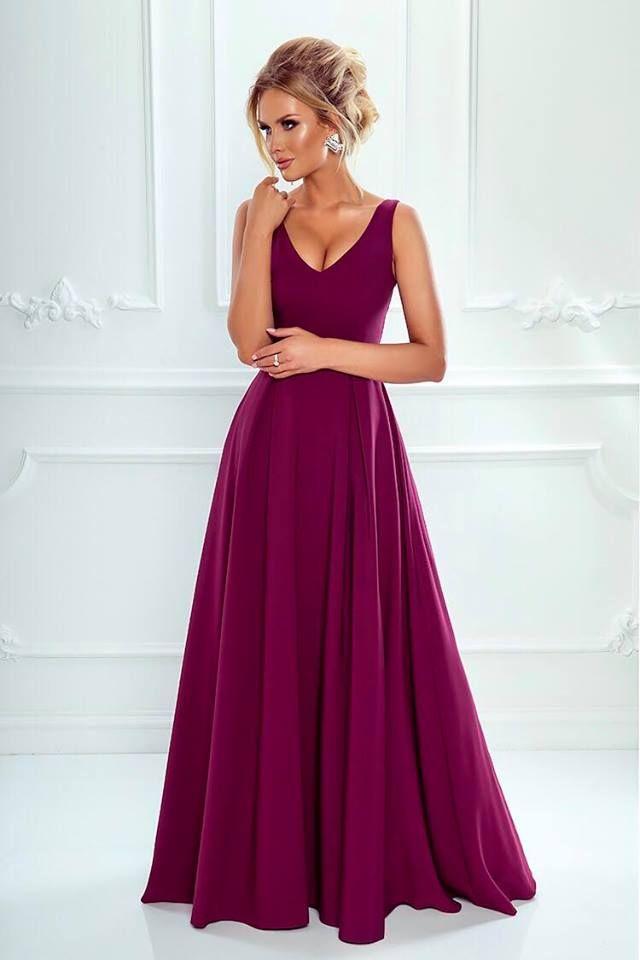 098a8bd89c Sukienka Długa Jessica Burgund Formalne Sukienki