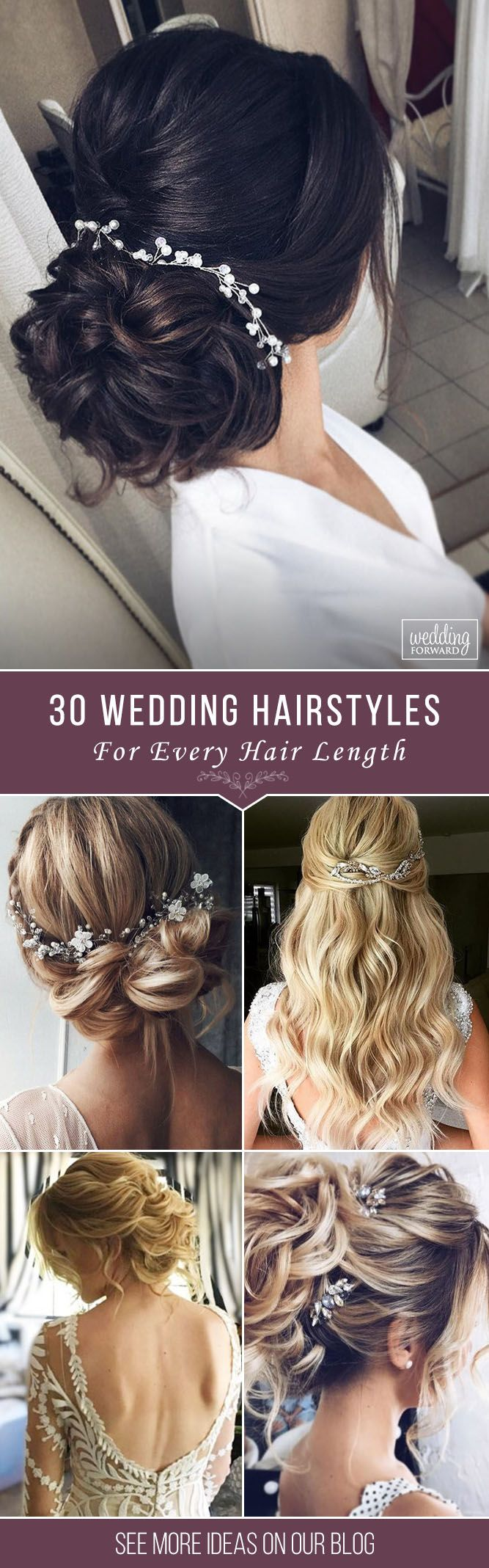 30 Stunning Wedding Hairstyles ❤ Creation of wedding hairstyle needs preparation. It'd be great if bride can make a trial version. Hope, our collection helps to make a right choice. See more: http://www.weddingforward.com/wedding-hairstyles-every-hair-length/ #wedding #bride #weddinghairstyles