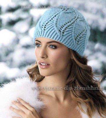 Шапки спицами Beautiful knit hat- Use google translate