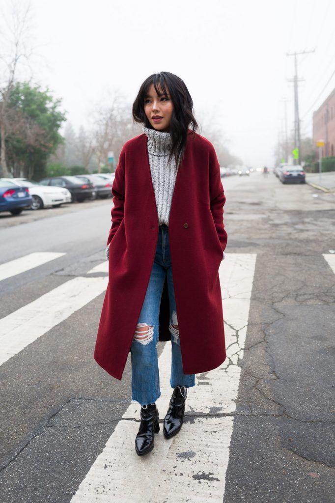 UNIQLO red coat, Rag & Bone Jeans, Topshop Sweater, Reike Nen Ring Boots