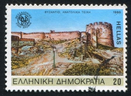 GREECE - CIRCA 1985: stamp printed by Greece, shows Eastern  walls of Salonika, Byzantine era, circa 1985