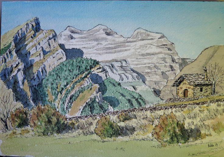 Cabaña en Vió Pirineos de Huesca.  Acuarela en papel Arches 300 gr. 18 x 26