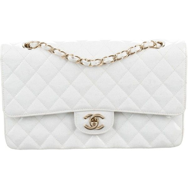 Pre Owned Chanel Classic Glitter Medium Double Flap Bag 2 610 Liked On Polyvore Featuring Ba Patent Leather Handbags Chanel Classic White Quilted Handbags