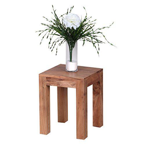 WOHNLING Beistelltisch Massiv Holz Akazie 35 X Cm Wohnzimmer Tisch Design Dunkel