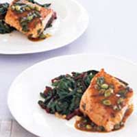 Teriyaki Salmon with Gingery Chard