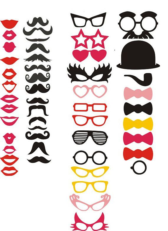 40 Photo Booth Props, Mustache Party, Lips, Wedding Photo Booth, Props on a Stick