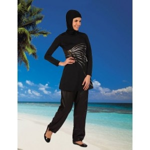 Islamic modest swinwear in black with gold print from www.hijabnow.com