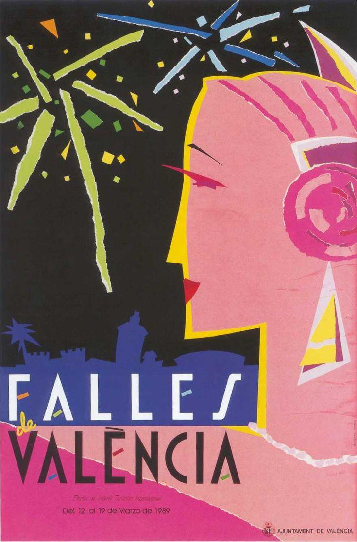 Fallas de Valencia  poster- 1989, precioso.  www.carmenderosatorner.es