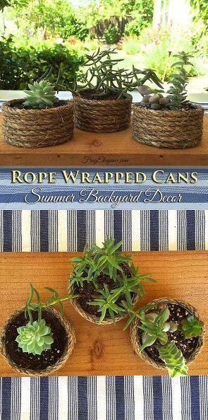Rope wrapped cans ~ these are perfect for coastal and rustic decor and would be great for table settings.