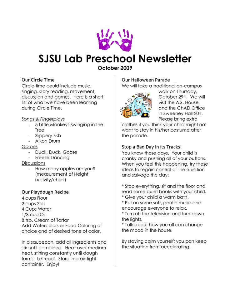 17 best images about Preschool newsletters on Pinterest