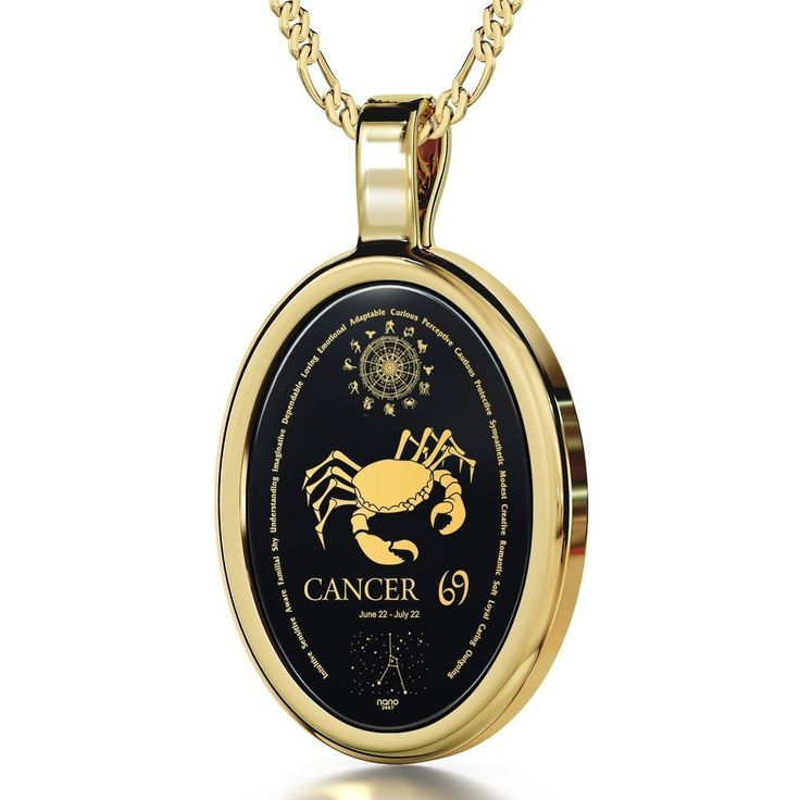 The World of Cancer, 14k Gold Necklace, Onyx