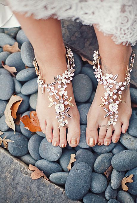 """Brides.com: Stylish, Sparkly Wedding Shoes . Barefoot Sandals with Shimmer. These bottomless bejeweled darlings have been dubbed """"barefoot sandals"""" by the designer, Debra Moreland, who no doubt had a boho bride in mind when she designed them. Browse more bohemian wedding accessories."""