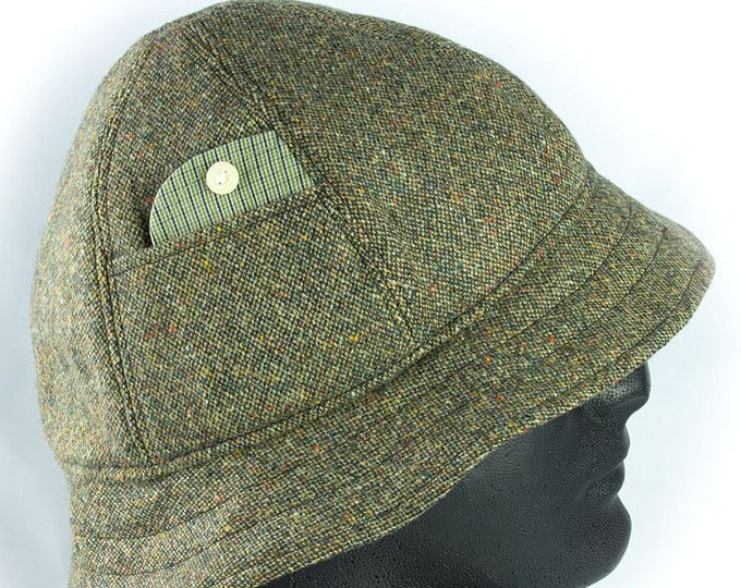 36ed27174 Mens Tweed Walking Hat   Green Wool Donegal Tweed Walking Hat   6 ...