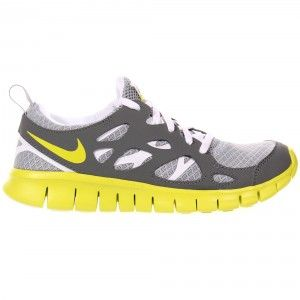 Nike Free Run 2 Kids Trainer - Grey / Whte / Venom Green
