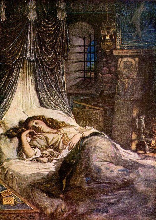 Imogena dormida (de la obra Cimbelino), ilustración de N.M. Price, de  1905, para la edición de los Cuentos de Shakespeare de Charles y Mary Lamb
