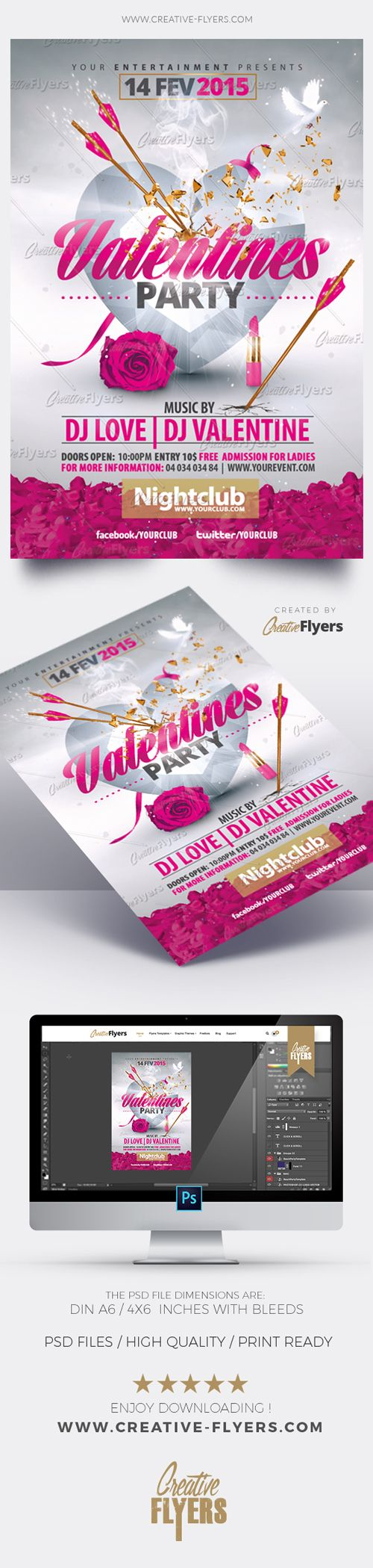 Enjoy downloading the Premium Photoshop PSD Flyer / poster Template designed by Creative Flyers perfect to promote your Valentine Party ! #valentinesday #flyers #templates #creativeflyers