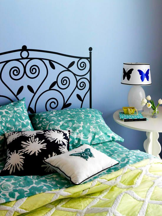 Popular and fun, wall decals let you inject personality into your bedroom! Find more looks here: http://www.bhg.com/rooms/bedroom/themes/bedroom-wall-decor/?socsrc=bhgpin110514bedrooms