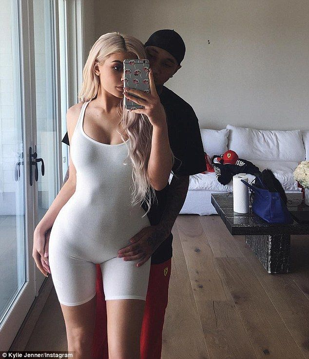Kylie Jenner shares racy Instagram snap where beau Tyga touches her on her bikini line as she dresses in leotard | Daily Mail Online
