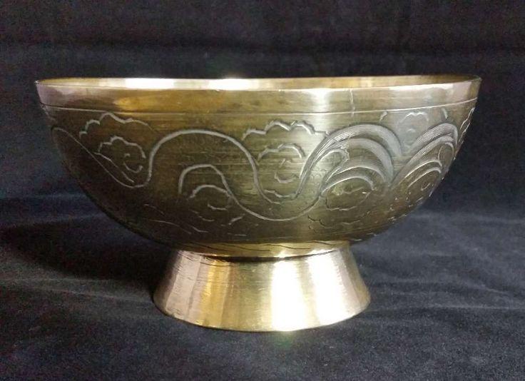 Vintage Handmade Indian Carved Brass Bowl